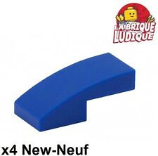 Lego - 4x Slope curved pente courbe 1x2 bleu/blue 11477 NEUF