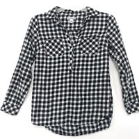 Croft & Barrow Brushed Cotton Popover Top Sz S Black White Gingham Long Sleeve