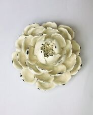 French Decorative Rose Flower Ornament In Antique Cream