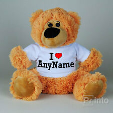 Personalised Teddy bear I LOVE ANY NAME toy, custom gift idea, Valentine's day
