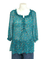Old Navy Teal Floral Peasant Top Lace Up Boho Blouse 3/4 Sleeve Womens Size M