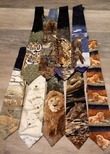 Lot Of 9 Assorted 100% Silk Men's Neck Ties - Endangered Species FREE SHIPPING