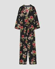 Zara Woman Floral Printed Crossover Jumpsuit Size M NWT