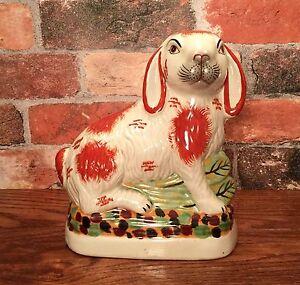 Staffordshire Red & White Bunny Rabbit Porcelain Figurine