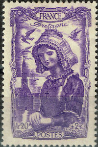 Vichy France WW2 Culture Ethnicities Bretaone Woman Sea Birds stamp 1943 MLH