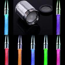 Glow LED Faucet Temperature Sensor Light RGB 3 Color Shower Kitchen Water Tap