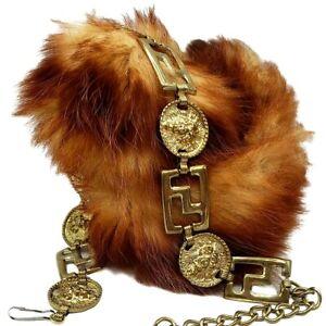 KILLER Vintage 80s LION HEAD Greek Key MEDALLION CHAIN BELT Gothic Romance