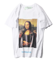 Off White T-Shirt  Mona Lisa Casual Oil Painting Sports Short sleeve Tee Unisex