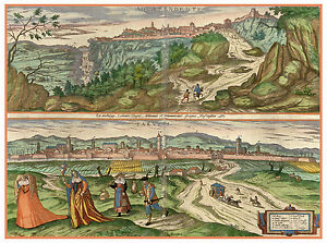 Acquapendente Lazio Treviso Veneto Italy bird's-eye view map Hogenberg ca.1598