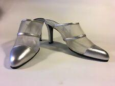 Charles Jourdan silver leather and mesh slingbacks 8