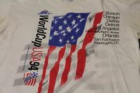 Original Vintage World Cup USA 94 Soccer T-Shirt Apex Sz XL White American Flag