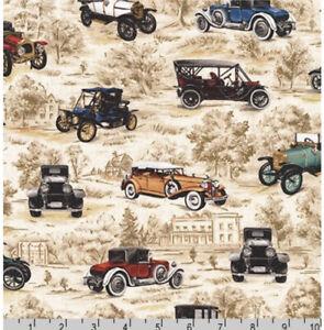 Fat Quarter Robert Kaufman On The Road Vintage Cars 100% Cotton Fabric