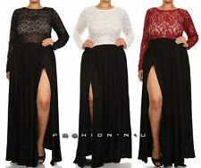 Plus Size Lace Top Maxi Dress Black High Waist Double High Slit Skirt