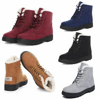 Womens Ladies Winter Warm Snow  Lace Up Faux Lined Flat Ankle Boots Shoes Size