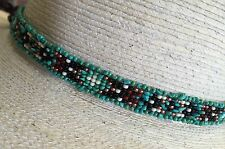 GENUINE TURQUOISE NUGGET NATIVE DESIGN Handmade Beaded Hatband HAT BAND