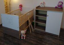 Bébé Complet Lot Lit 70x140 Convertible Commode à Langer Blanc Braun Attractive
