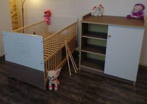 Babyzimmer Komplett Set Babybett 70x140 Umbaubar Wickelkommode Weiß Braun ANGEBO