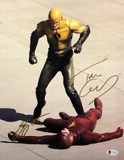 Grant Gustin & Tom Cavanagh Signed DC Comics 'The Flash' 11x14 Photo BAS C16204