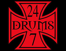DRUMS 24/7 IRON CROSS VINYL DECAL 6X6 CYMBALS DRUMMER