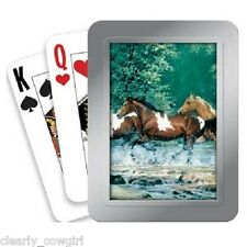 #8739 -- TREE FREE ECO COWGIRL HORSE DELUXE PLAYING CARDS TIN -WOW!