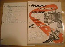 1957 Vintage Prairie Full View Mower Sickle Brochure Literature Ad