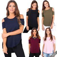 Womens Ladies Cold Shoulder T Shirt Dip Hem Top Plain Loose Blouse Work Casual
