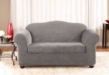 Sure Fit flannel gray Box-cushion Stretch Pique Sofa  sure fit slipcover