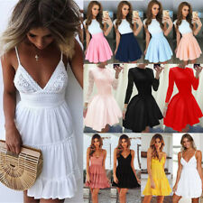 UK Boho Womens Lace Sleeveless V Neck Ladies Casual Evening Paty Long Dress