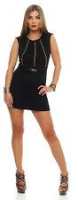 5610 Ärmelloses tailliertes Minikleid Rundhals Stretch Kleid dress 4 Farben