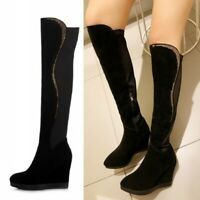 Details about  /Women Outdoor Winter Hidden Wedge Heel Round Toe Over The Knee High Boots Punk D