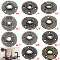 """1/2"""" 3/4"""" 1"""" Black Malleable Cast Iron Pipe Fittings Floor Flange Threaded Hole"""