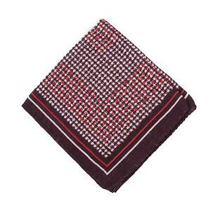 Ermenegildo Zegna Burgundy Check Print Wool and Silk Pocket Square