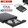 External USB 2.0 DVD RW CD Writer Drive Burner Reader Player For Laptop PC USA