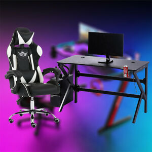 Gaming Desk and Racing Chair Set PC Computer Table Metal Office Home w/LED RGB