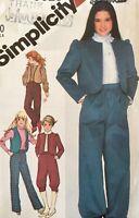 Simplicity Sewing Pattern 5626 Knickers Jacket Vest Pants Girls Size 8