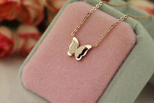 New Stainless Steel 14K Rose Gold Butterfly Pendant Collarbone Chain Necklace