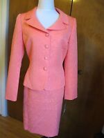 Tahari Asl Women's coral 2 Piece Skirt Suit Size 8 New