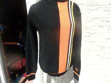 Vintage 1970'S Arctic Cat Racing Snowmobile Sweater Winter Black Orange Medium