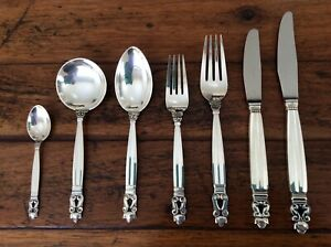Georg Jensen Sterling Silver Acorn Cutlery Set, 42 Pieces, 6 Place Settings