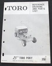 "ORIGINAL 1950s TORO PONY 25"" RIDING MOWER TRACTOR PART CATALOG MANUAL GOOD SHAPE"