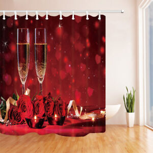 """Red Rose Flower and Wine Glass 71"""" Waterproof Fabric Shower Curtain Bathroom Mat"""