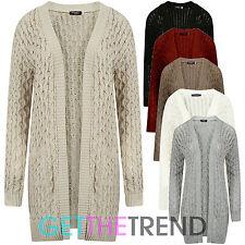 Womens Oversized Long Pocket Cardigan Ladies Knitted 8-18 Size Boyfriend Cardi