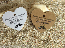 10 Kraft Gift Tags Wedding Favour Bomboniere Personalised Love Birds Thank you H