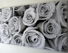 ROSE BLACK WHITE GREY CANVAS PRINT  WALL ART PICTURE 18 X 32 INCH