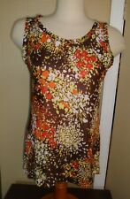 Ladies Vtg 1970s Abstract Print Scooped Neck Tank Top Strap Shirt Sz Ml Nos