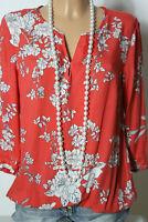 s.Oliver Bluse Gr. 36 lachs-rot 3/4-Arm Hüft Bluse mit weißen Blumen