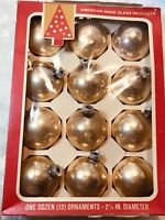 """Vintage Gold Glass Christmas Balls Set Of 12 With Box By Coby 2-5/8""""D"""