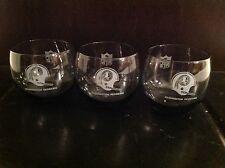 Set of 3 Vintage Washington Redskins NFL Smoked Cocktail LowBall Tumbler Glasses