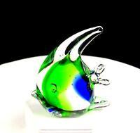 "STUDIO ART GLASS GREEN AND COBALT BLUE 3 3/4"" TROPICAL FISH PAPERWEIGHT"