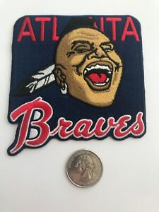 "ATLANTA BRAVES MLB vintage Embroidered Iron On Patch 4"" X 3.5"